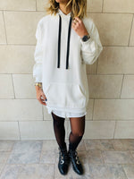 White Effortless Longline Hoodie