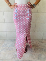 Pink Polka Button Skirt