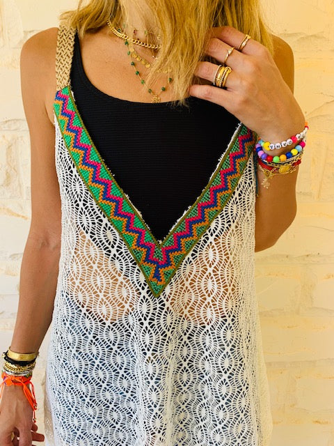 White Trim Swing Coverup