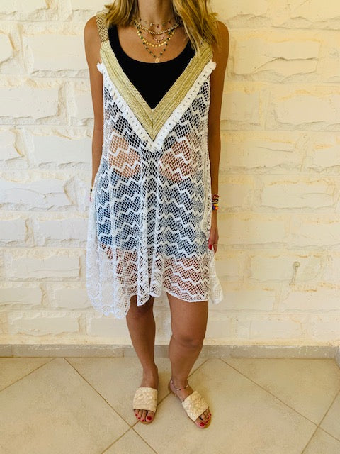 White Tassel Trim Swing Coverup