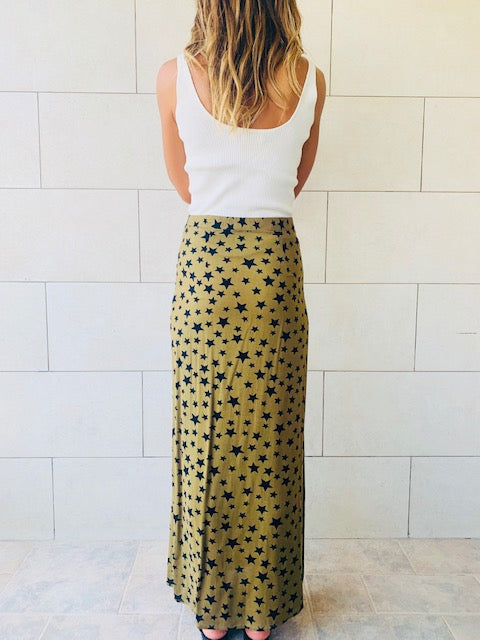 Olive Stars Button Skirt