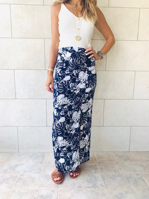 Navy Aloha Button Skirt