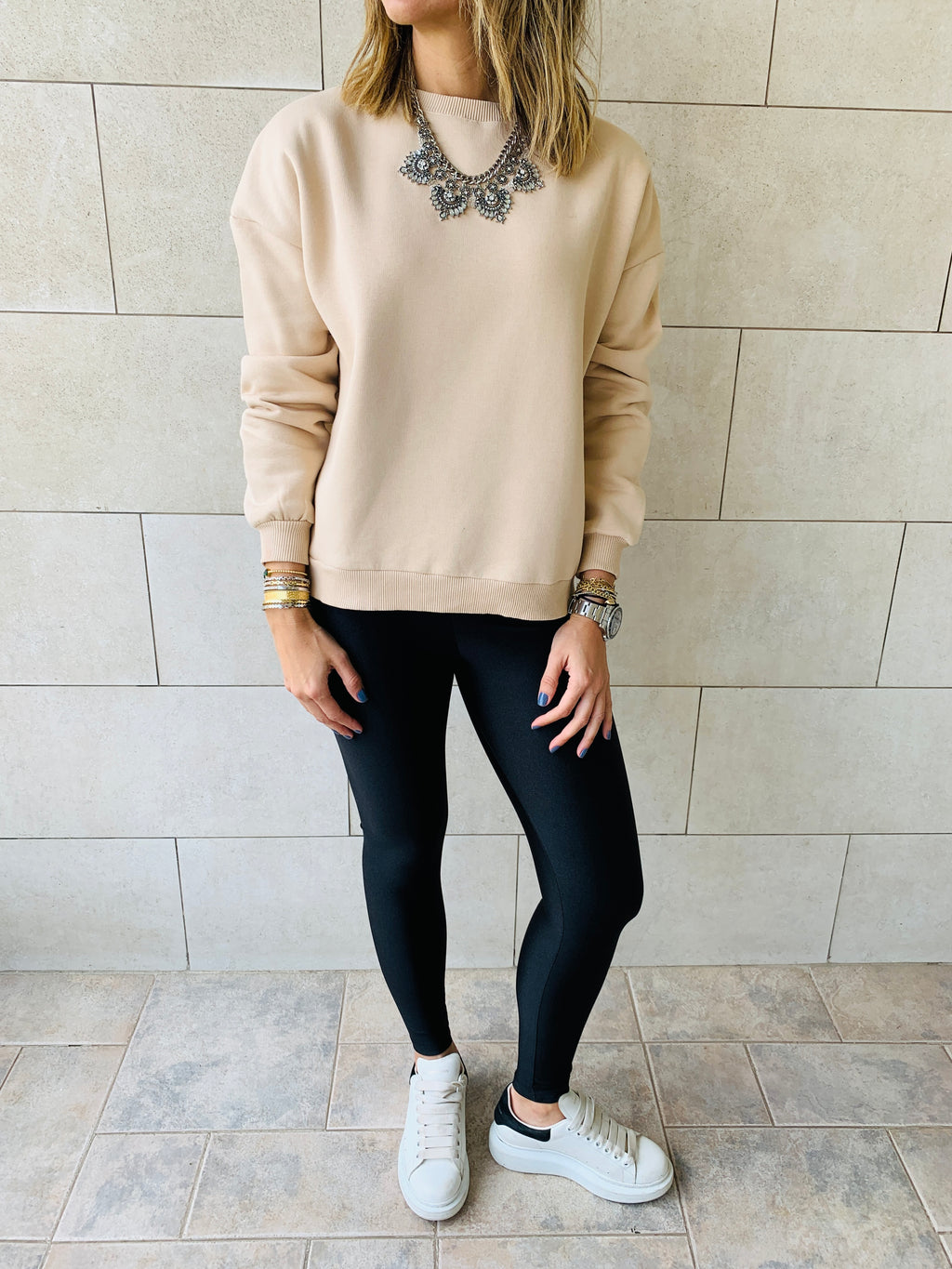 Beige Basic Sweatshirt