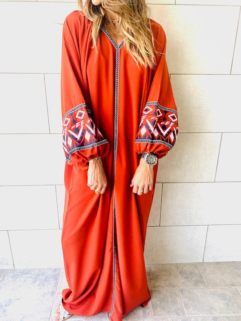 Rust Marrakech Embroidered Dress