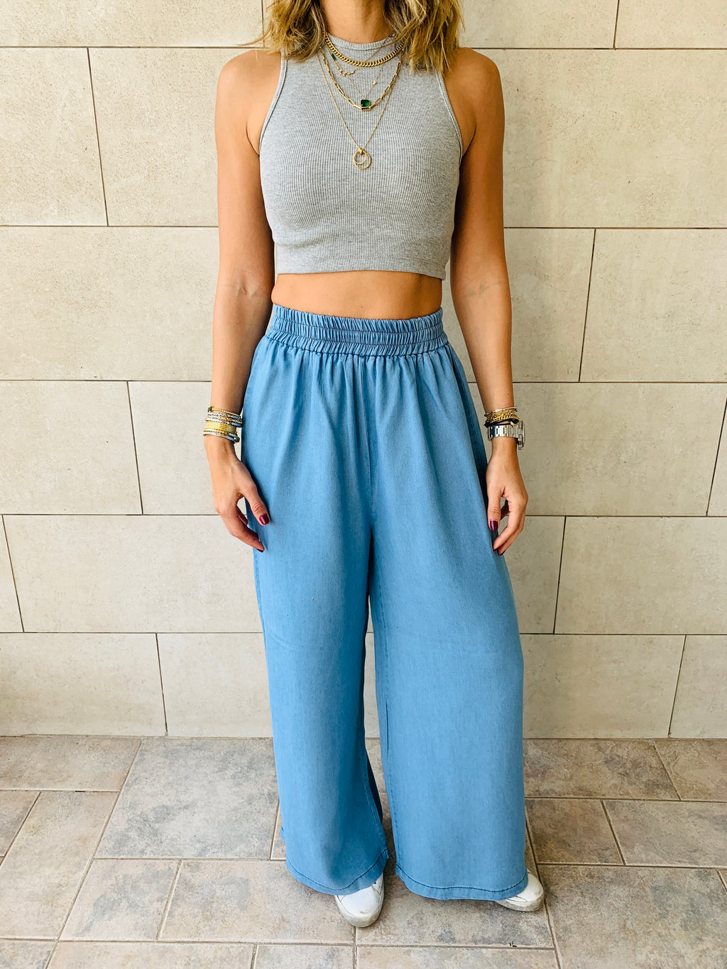 Light Denim Flare Pants