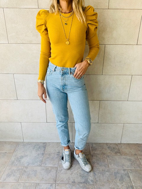 Mustard Ribbed Feather Knit