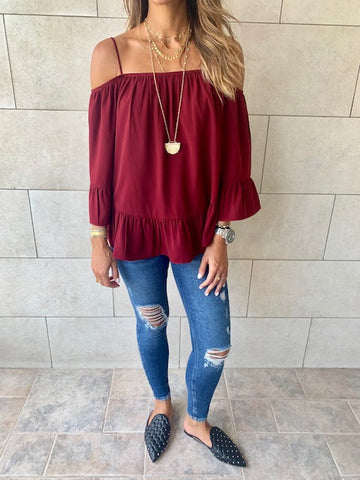 Burgundy Cold Shoulder Top