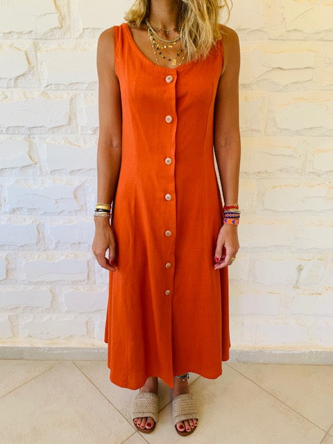 Rust Linen Gypsy Dress