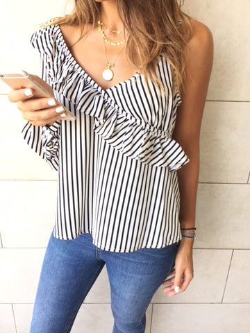 Black Pinstripe One Shoulder Top
