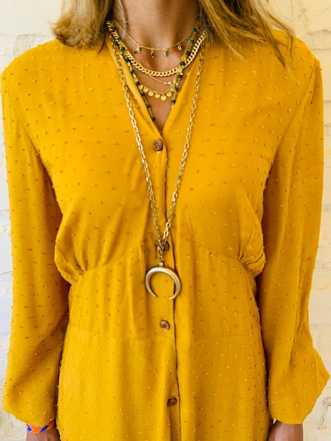 Mustard Dottie Dress