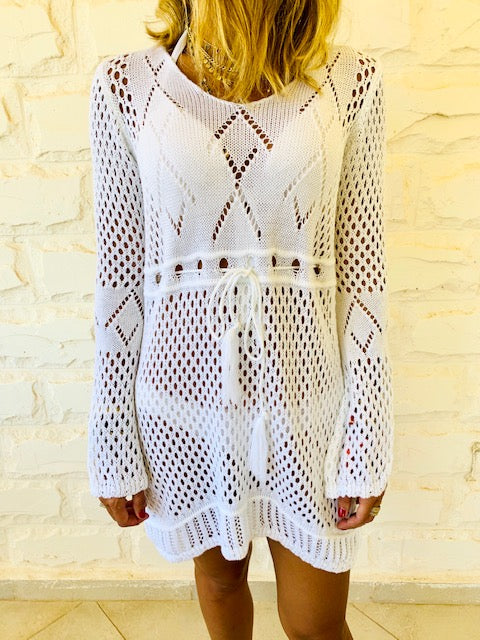 White Crochet Beach Dress