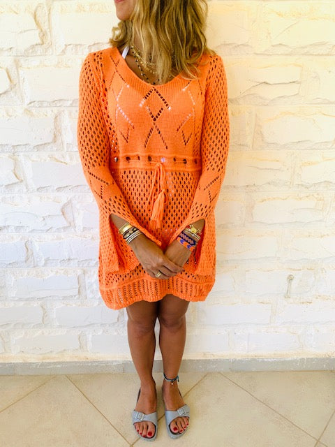 Orange Crochet Beach Dress