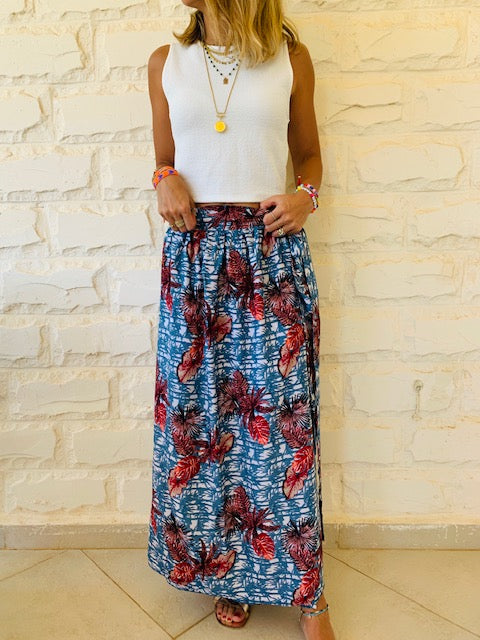 Aloha Blues Wrap Skirt