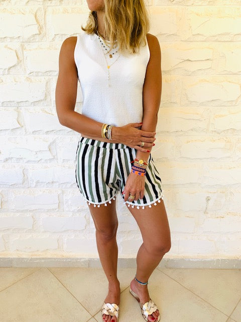 Green Striped Linen PomPom Shorts