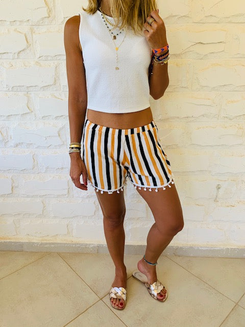 Mustard Striped Linen PomPom Shorts