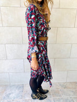Fall Floral A-Line Shirt Dress