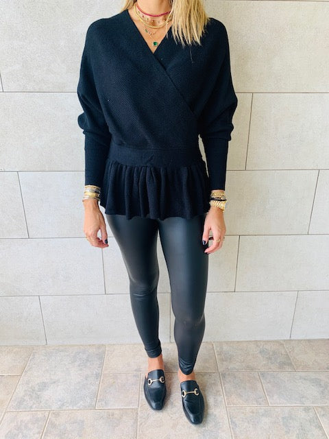 Black Sophisticated Vee Knit