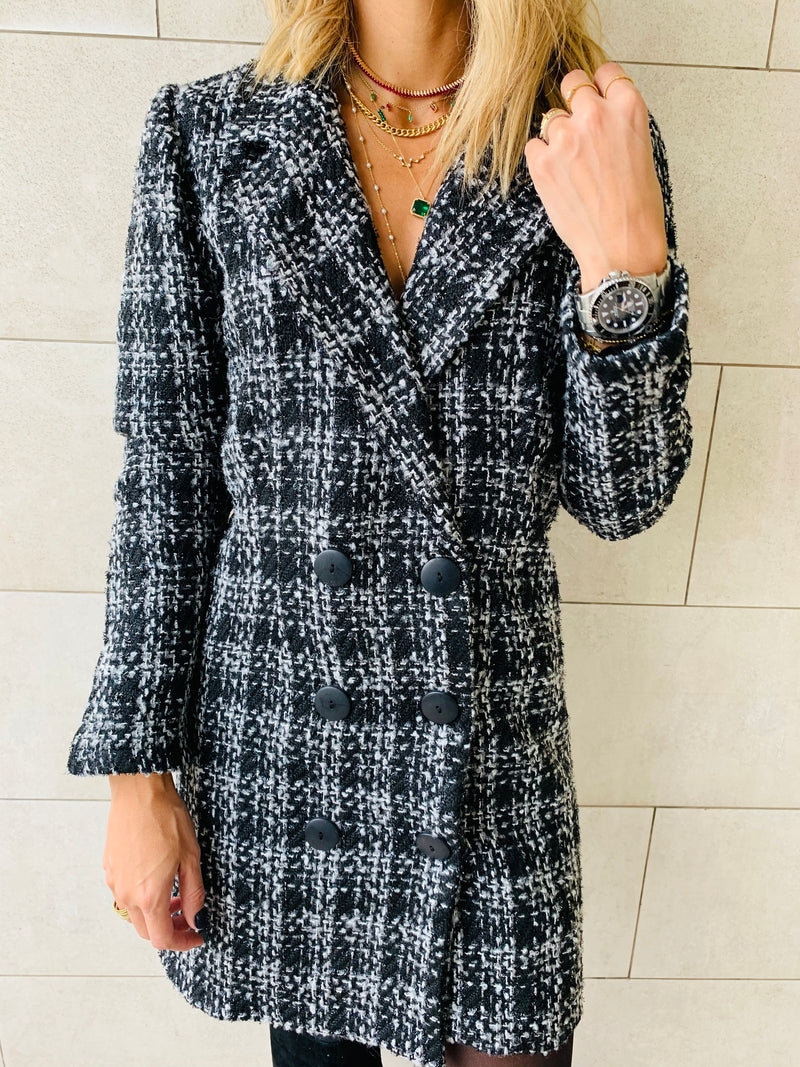 Black Tweed Blazer Dress