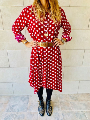 Polka A-Line Shirt Dress