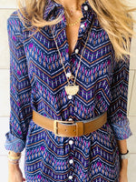 Purple Chevron Shirt Dress