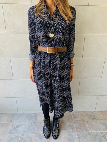 Midnight Chevron Shirt Dress