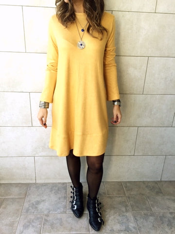 The Mustard Flowy Knit Dress