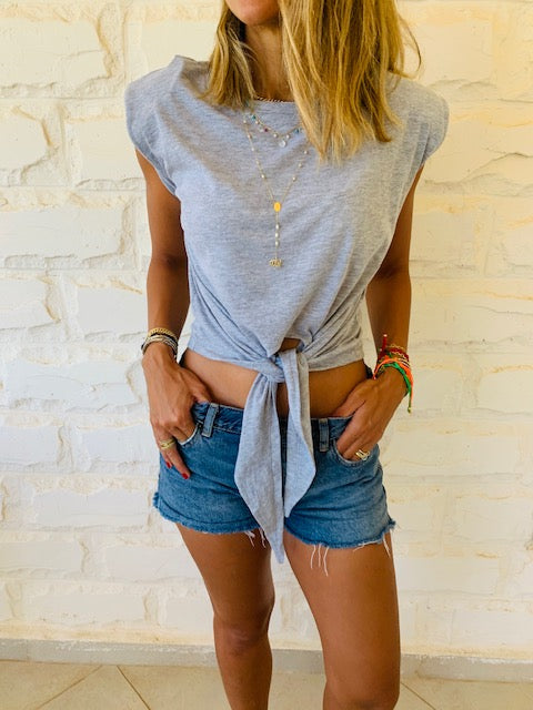 Grey Padded Shoulder T-shirt