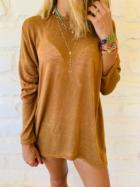 Brown Summer Knit Top