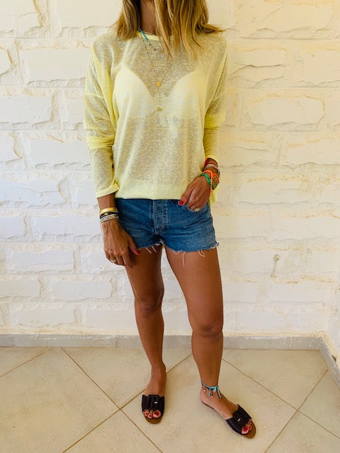 Yellow Summer Knit Top