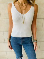 White Sleeveless Knit Ribbed Top