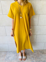 Mustard Side Slit Dress