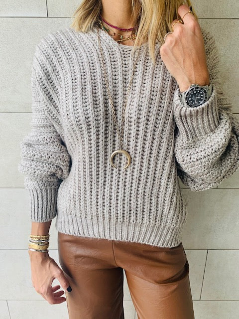 Beige Slouch Pullover