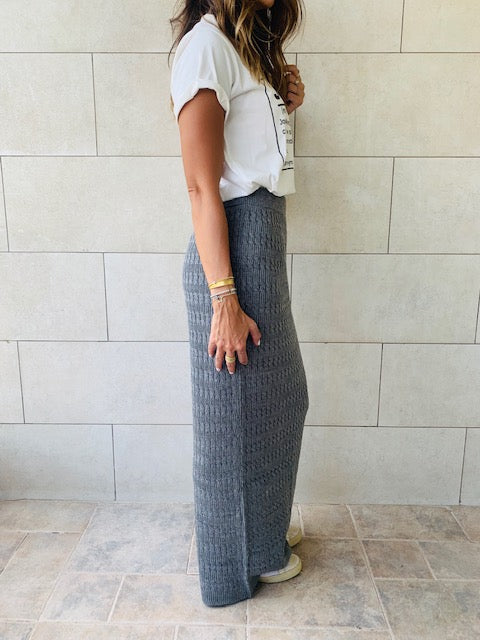 Grey Knit Maxi Skirt