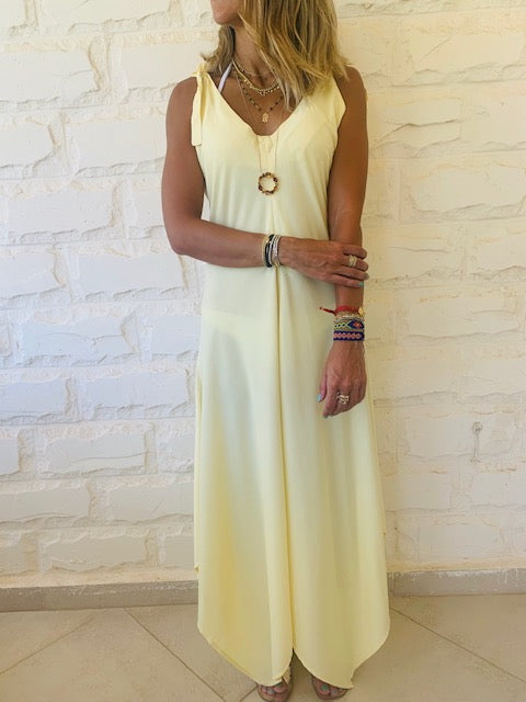 Yellow Shoulder Tie Dress