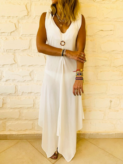 White Shoulder Tie Dress