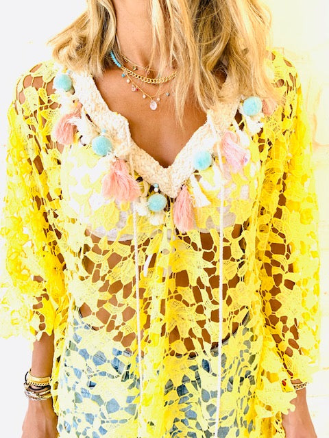 Yellow Zakynthos Embellished Coverup
