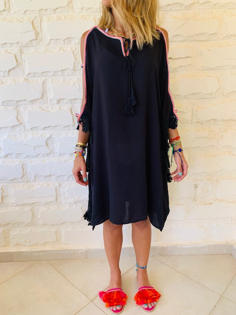 Black Lacey Shoulder Trim Kaftan