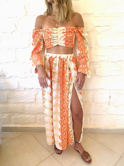 Orange Confetti Chiffon Set