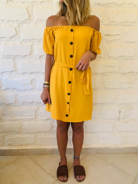 Mustard Puff Bardot Dress
