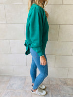 Green Open Back Tie Pullover