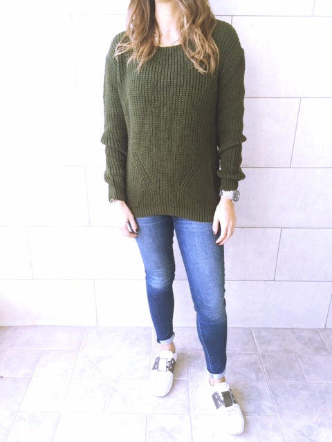 Olive Ripped Back Pullover