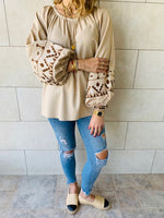 Beige Linen Marrakech Embroidered Top