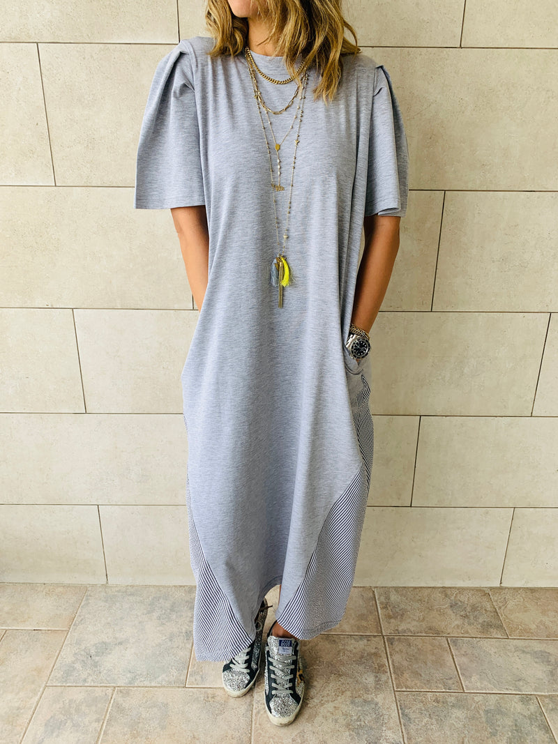 Grey Side Appliqué Dress