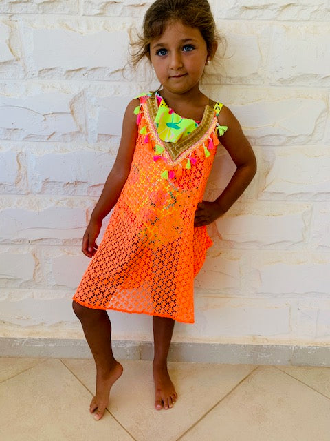 MINI FRILLU Orange Coverup