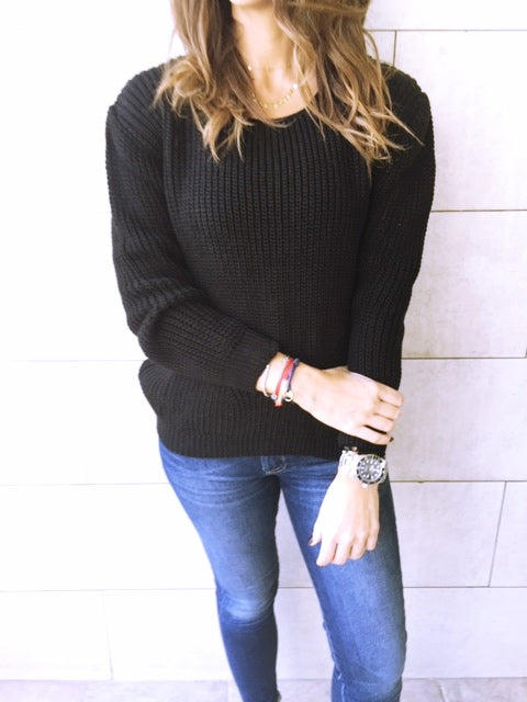 Black Ripped Back Pullover