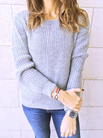 Grey Ripped Back Pullover