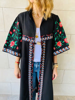 Black Statement Maliqa Embroidered Linen Kimono