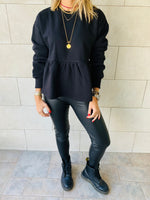 Black Peplum Sweatshirt