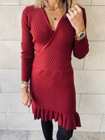 Knit Me Up Burgundy Dress