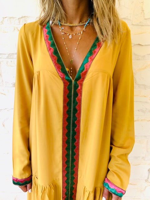 Mustard Ree Embellished Dress